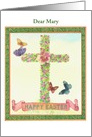 Name Specific Religious Cross Illustrated Butterfly card