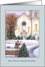 Illustrated Snow Cover Church Anniversary Invite card