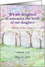 Custom Baby Girl Announcement Spring Landscape card
