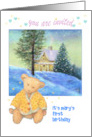 Teddy bear twinkling winter cottage, custom text winter party invite card