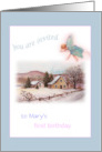 enchanting winter fairy , personalize first birthday invite card