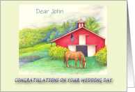 Wedding Congratulations for son barn & garden name specific from mom card