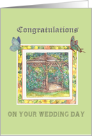 Wedding Congratulations for Step Daughter Cottage Garden card