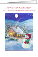 Blue Moon Birthday on Christmas for BFF card