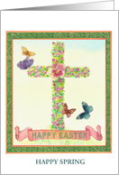 Religious Cross illustrated Butterfly Custom Front card
