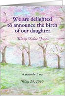 custom baby announcement spring landscape card