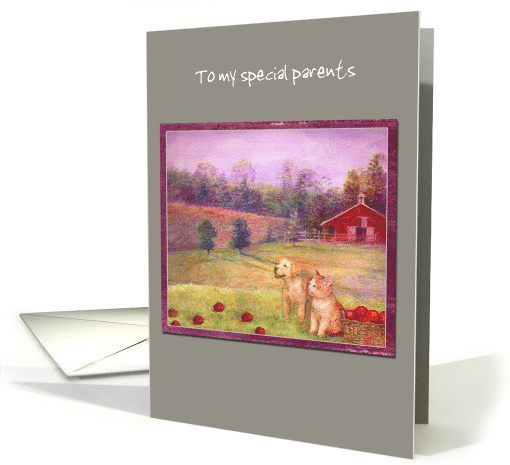 Happy Anniversary from Pup & Kitten Red Barn card (1481916)