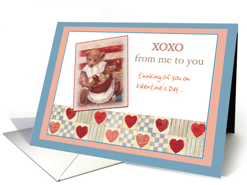 XOXO Custom Text Valentine, Hearts & Bears card (977643)