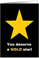 Congratulations - You deserve a GOLD star! (Black background) card