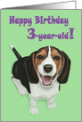 Happy Birthday 3-year-old!--Adorable Smiling Beagle Puppy Card