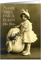 Vintage Girl With Bunny Ears and Big Egg Photo - Egg Hunt Invitation card