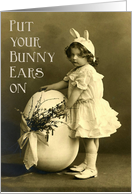 Vintage Girl,Bunny Ears and Big Egg Photo - Easter Party Invitation card