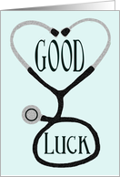 Stethoscope Forming a Heart - Good Luck on Medical Boards card