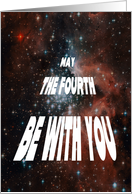 May 4 Birthday Card, May the fourth be with you, Retro, Space card