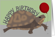 Turtle Holding Red Balloon - Happy Belated Birthday Card