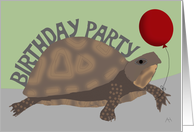 Turtle Holding Red Balloon - Birthday Party Invitation card