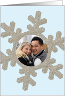 Custom Photo Winter Themed Snowflake Engagement Party Invitation card