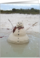 Sand Snowman on the Beach Close Up, Blank Note Card