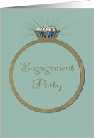 Retro Engagement Party Invitation Vintage Diamond Ring, Glitter-effect card