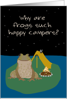 Happy Camper Frog Humor, Letter from Home to Camp card