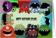 Cute Monster Happy Birthday Card, Name Specific Dylan card