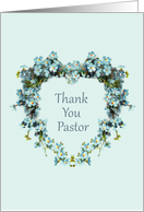 Thank You for Pastor Heart Shaped Forget-Me-Nots card