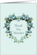 Thank You for Minister Heart Shaped Forget-Me-Nots card