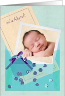 Custom Photo Adoption Announcement for Baby Boy card