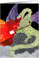 For Camper From Home, Fire Breathing Dragon Roasting a Marshmallow card