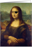 Get Well from Cataract Surgery, Mona Lisa with an Eye Patch card