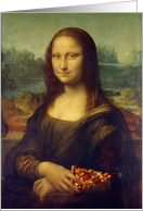 Invitation to a Birthday Pizza Party Featuring Mona Lisa Eating Pizza card