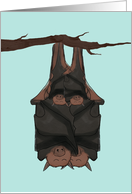 Adoption of Twin Babies Announcement, Bats Hanging on Branch Together card