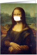 Coronavirus Social Distancing, Miss You, Mona Lisa in a Mask card