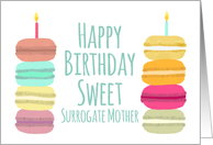 Surrogate Mother Macarons with Candles Happy Birthday card