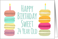 24 Years Old Macarons with Candles Happy Birthday card
