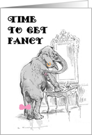 Elephant Getting Ready for a Party, Girls' Night Out Invitation card