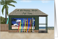 Happy Birthday With Surfboards And Beach Card