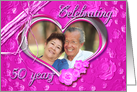 50th Wedding Anniversary photo card on pink background card