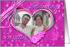 3rd Wedding Anniversary photo card on pink background card
