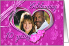10th Wedding Anniversary photo card on pink background card