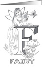 Enchanted Fairy Alphabet F letter Collection Coloring Card
