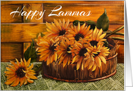 A basket of sunflowers oil painting Happy Lammas Day card