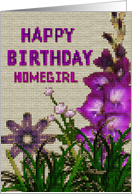 Digital cross stitch Birthday card for homegirl card