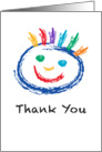 Thank You Happy Colorful Face rendered in Chalk or Crayon card