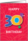 30th Birthday, Bright Bold Numbers with String Background card