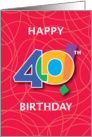 40th Birthday, Bright Bold Numbers with String Background card