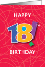 18th Birthday, Bright Bold Numbers with String Background card