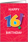 16th Birthday, Bright Bold Numbers with String Background card