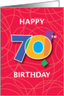 70th Birthday, Bright Bold Numbers with String Background card