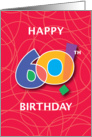 60th Birthday, Bright Bold Numbers with String Background card